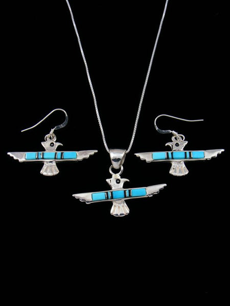 Navajo Turquoise Inlay Necklace and Earrings Thunderbird Set