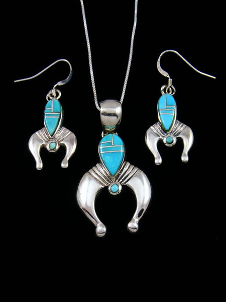 Navajo Turquoise Inlay Necklace and Earrings Naja Set
