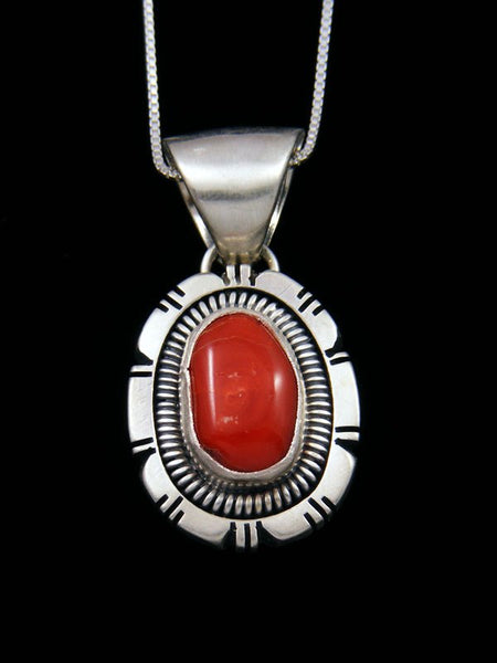 Native American Natural Coral Sterling Silver Pendant
