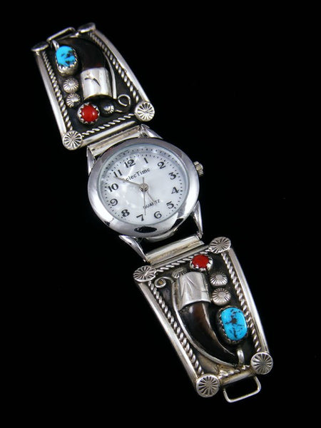 Native American Indian Jewelry Sterling Silver Bear Claw Men's Watch