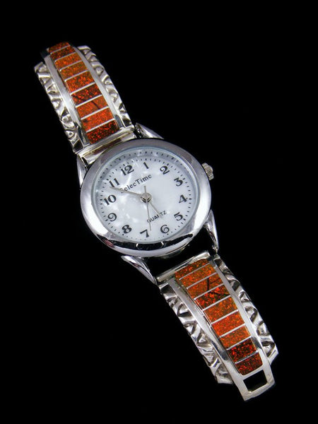 Native American Jewelry Zuni Opalite Inlay Ladies' Watch