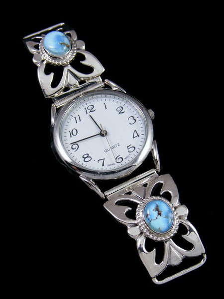 Native American Indian Golden Hill Turquoise Sterling Silver Watch