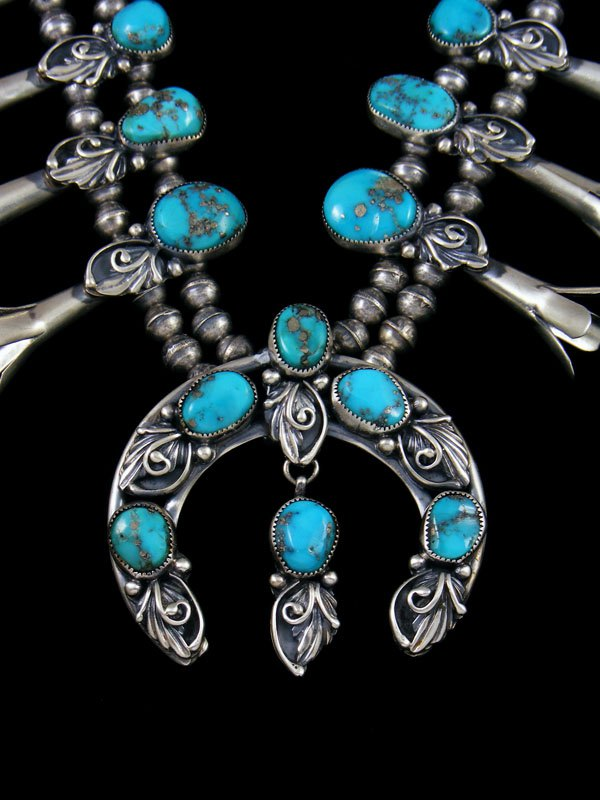 Native American Turquoise Squash Blossom Necklace and Earrings Set