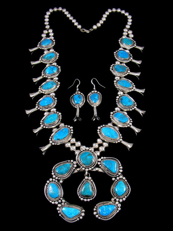Native American Blueridge Turquoise Squash Blossom Necklace and Earrings Set