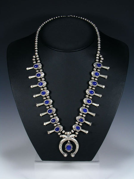 Native American Blue Lapis Squash Blossom Necklace and Earrings Set