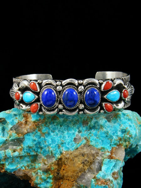 Native American Turquoise Lapis and Coral Cuff Bracelet