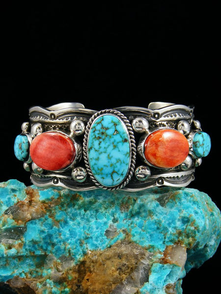 Native American Sterling Silver Spiny Oyster Kingman Turquoise Bracelet
