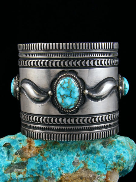 Native American Indian Jewelry Sterling Silver Natural Turquoise Mountain Bracelet