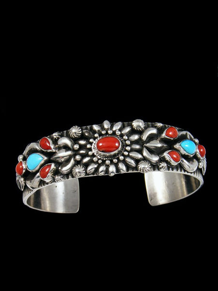 Native American Turquoise and Coral Cuff Bracelet