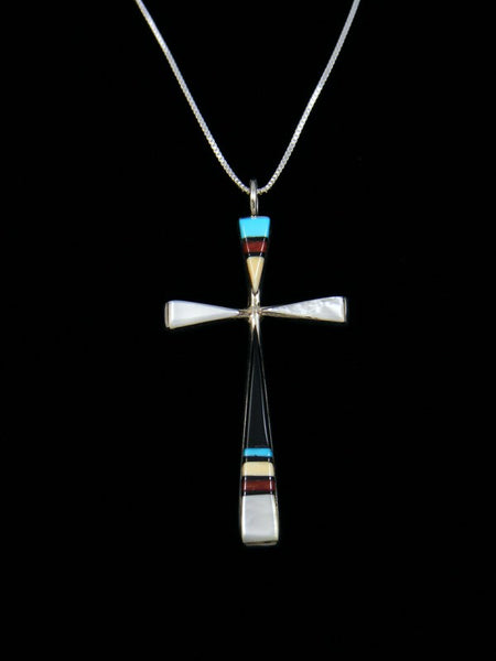 Sterling Silver Zuni Inlay Turquoise Cross Necklace