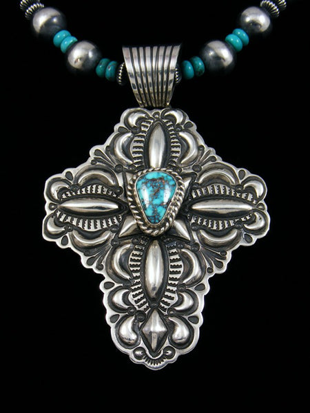 Native American Natural Kingman Turquoise Cross Necklace