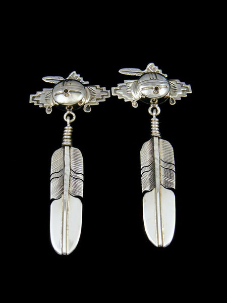 Navajo Sterling Silver Kachina Feather Post Earrings