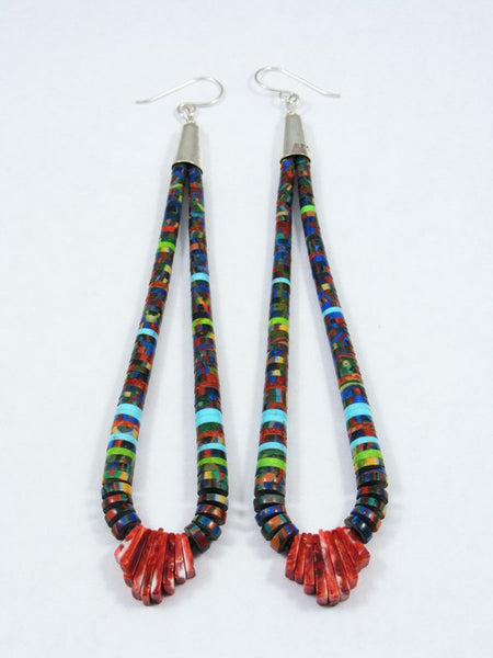 Santo Domingo Rainbow Calsilica Beaded Dangle Earrings