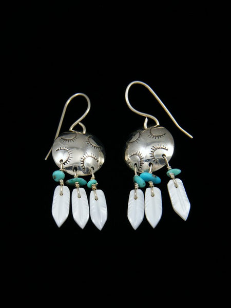 Sterling Silver Mother of Pearl Dreamcatcher Earrings