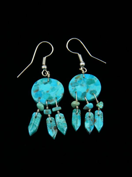 Navajo Turquoise Dangle Dreamcatcher Earrings