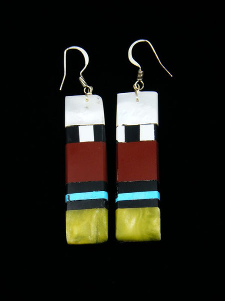 Pipestone and Turquoise Santo Domingo Dangle Earrings