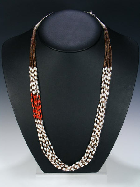 Native American Santo Domingo Mother of Pearl and Heishi Necklace