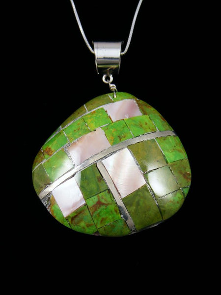 Dyed Allunite and Pink Shell Mosaic Santo Domingo Shell Pendant