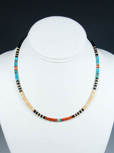 Native American Indian Santo Domingo Turquoise and Heishi Choker Necklace