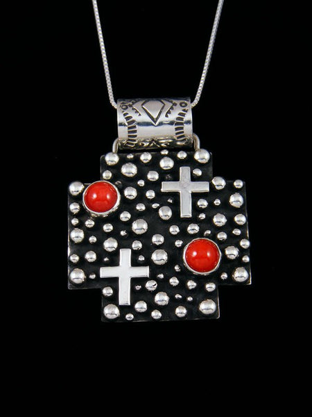 Natural Red Coral Navajo Handmade Droplet and Cross Pendant