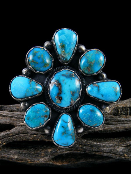 Kingman Turquoise Cluster Ring, Size 8