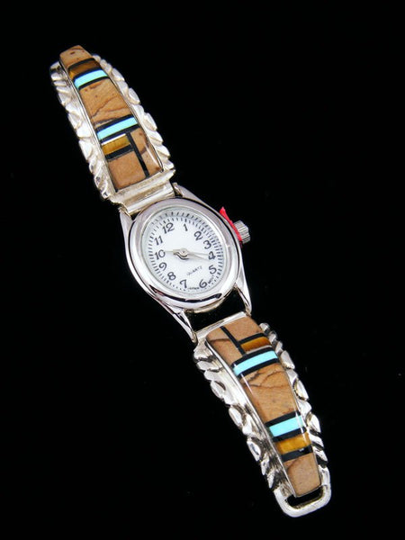 Native American Indian Jewelry Onyx and Tiger Eye Inlay Ladies' Watch