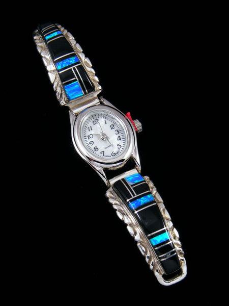 Native American Indian Jewelry Onyx and Opalite Inlay Ladies' Watch