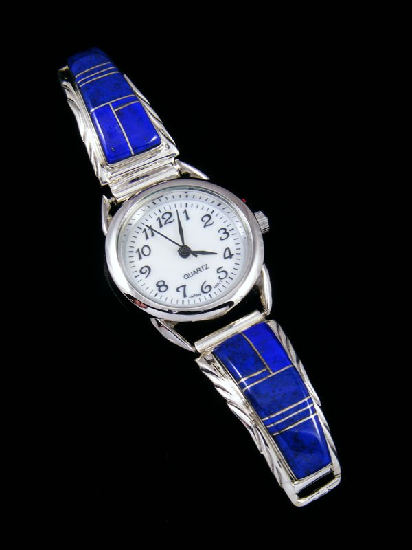 Native American Jewelry Lapis Inlay Ladies' Watch