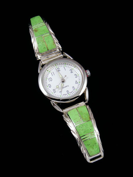 Native American Jewelry Gaspeite Inlay Ladies' Watch