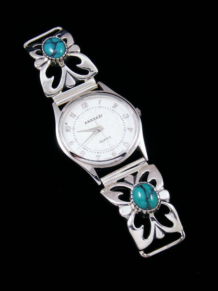Native American Indian Egyptian Turquoise Sterling Silver Ladies' Watch
