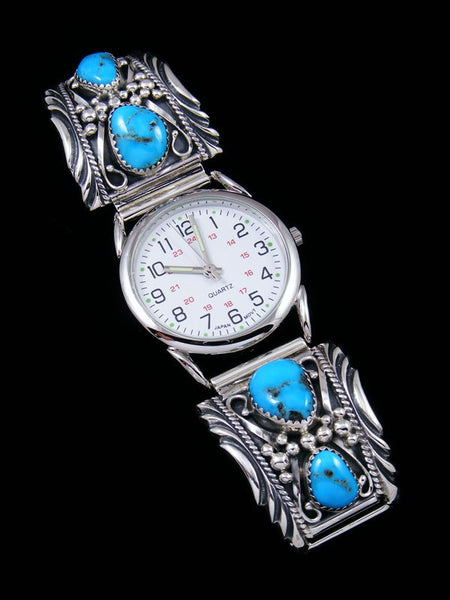 Native American Indian Jewelry Sterling Silver Kingman Turquoise Men's Watch