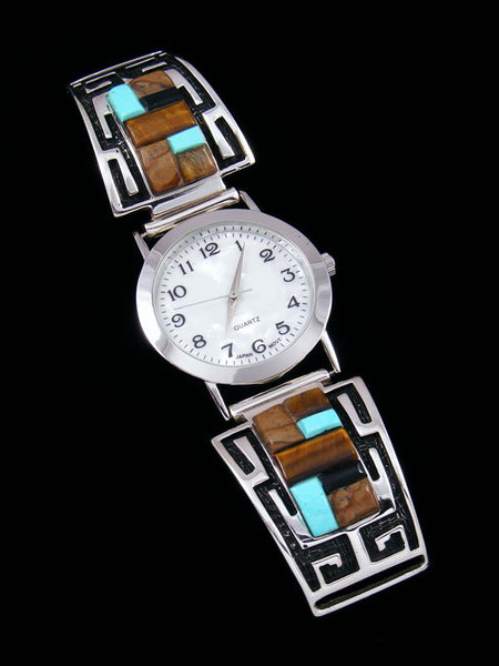 Native American Indian Jewelry Tiger Eye and Turquoise Men's Inlay Watch