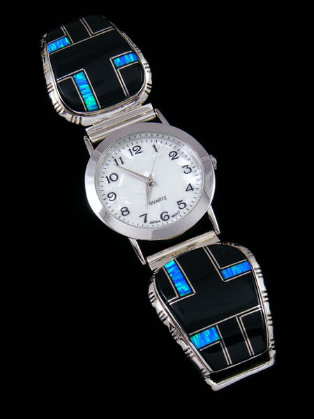 Native American Indian Jewelry Onyx and Opalite Men's Inlay Watch