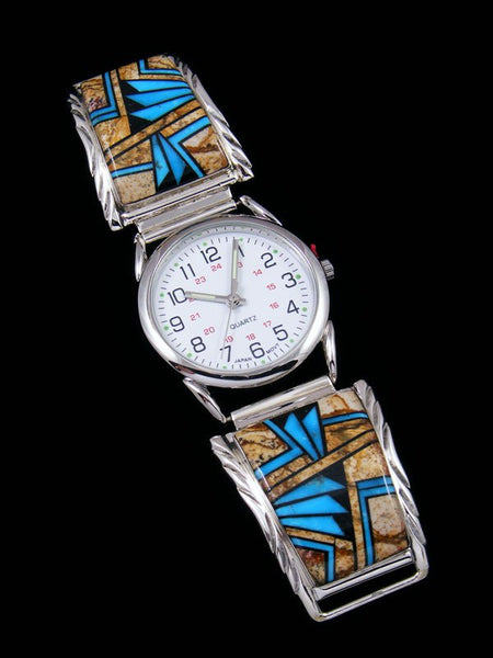Native American Indian Jewelry Jasper and Turquoise Men's Inlay Watch