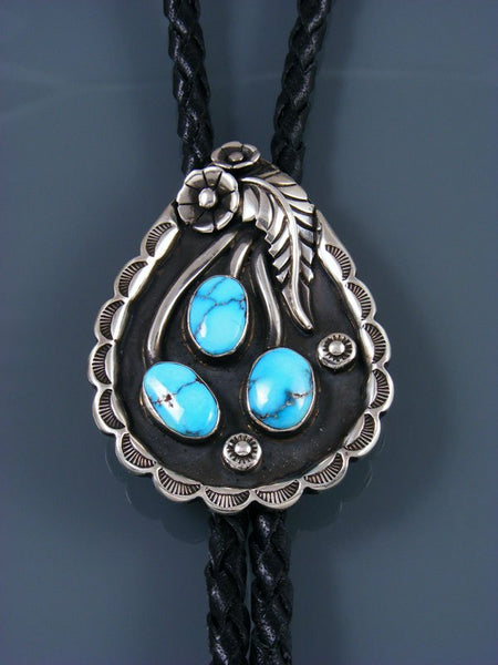 Native American Sterling Silver Nevada Turquoise Bolo Tie
