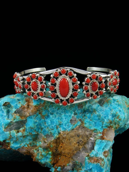 Native American Red Coral Sterling Silver Cuff Bracelet