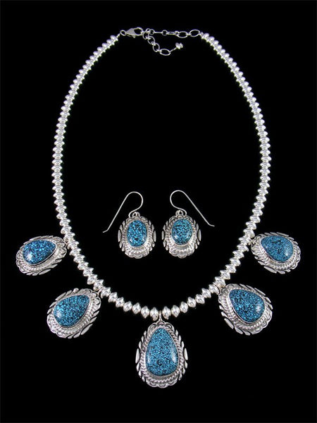 Natural Kingman Blackweb Turquoise Sterling Silver Tear Drop Necklace Set