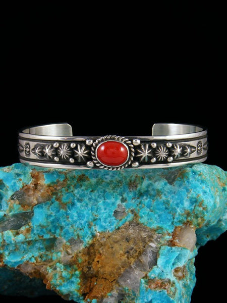 Native American Sterling Silver Natural Coral Starburst Cuff Bracelet