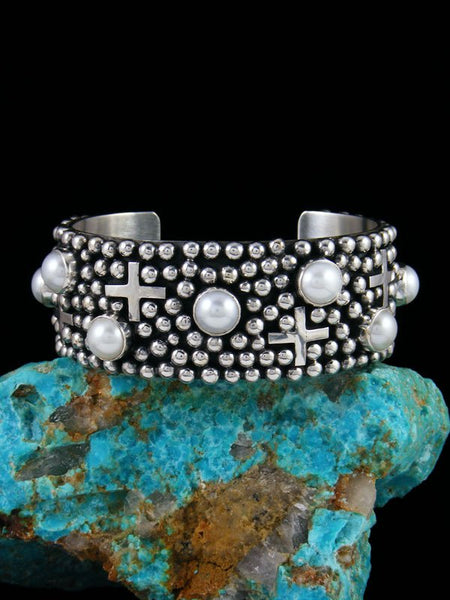 Native American Indian Jewelry Sterling Silver Freshwater Pearl Cross Cuff Bracelet