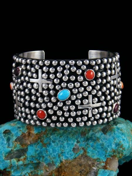 Native American Indian Jewelry Sterling Silver Multi Stone Cross Cuff Bracelet