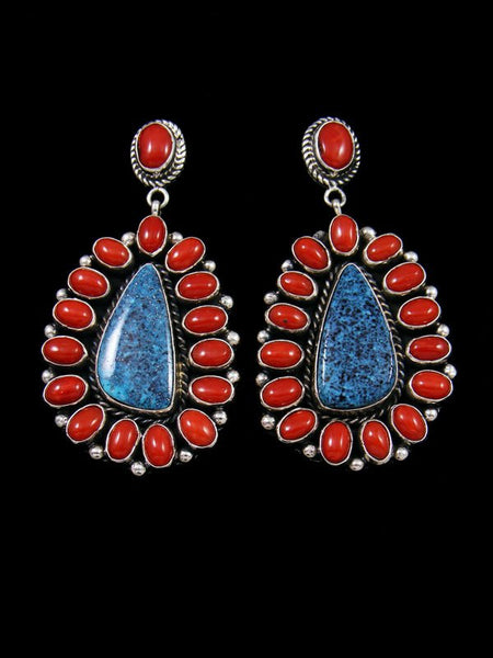 Kingman Black Web Turquoise and Natural Coral Navajo Post Earrings