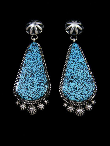 Natural Kingman Blackweb Turquoise Navajo Post Earrings