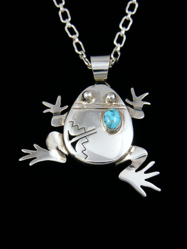 Native American Sterling Silver Frog Pendant by Bennie Ration - PuebloDirect.com