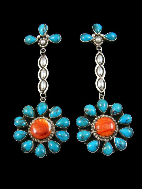 Turquoise and Spiny Oyster Earrings by Delbert Delgarito - PuebloDirect.com