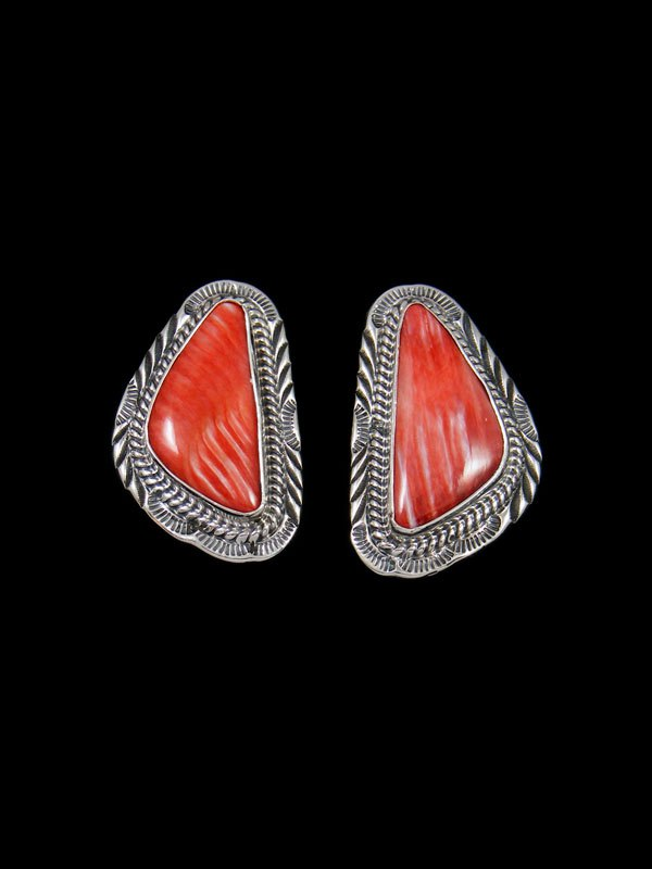Navajo Spiny Oyster Sterling Silver Post Earrings