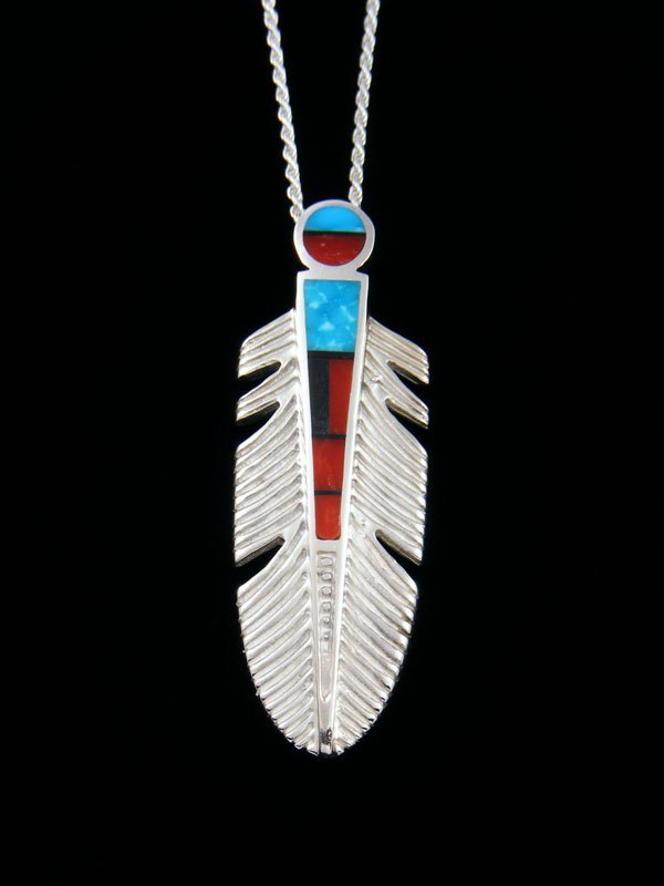 Navajo Coral and Turquoise Feather Inlay Pendant