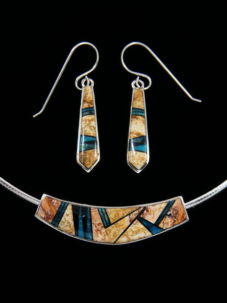 Navajo Jasper and Onyx Inlay Choker and Earrings Set