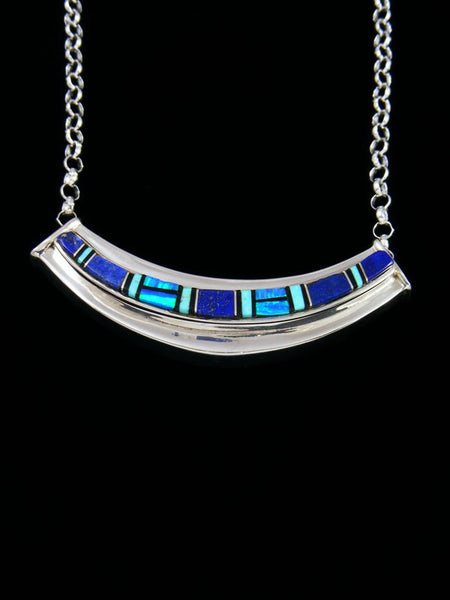 Navajo Lapis and Opalite Inlay Sterling Silver Link Choker Necklace
