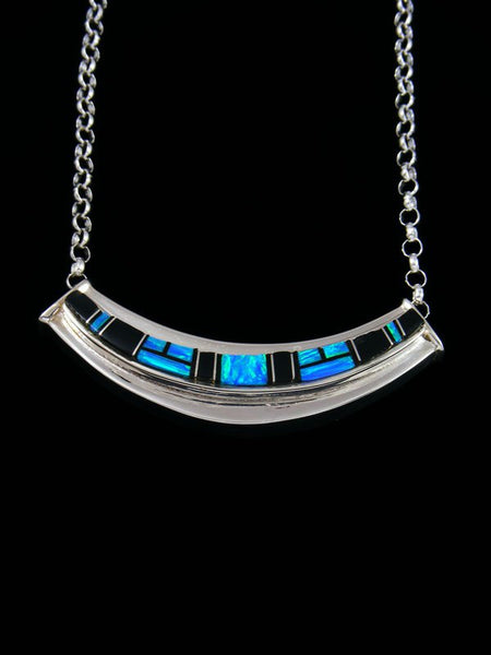Navajo Onyx and Opalite Inlay Sterling Silver Link Choker Necklace