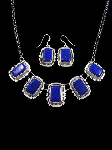 Native American Blue Lapis Necklace and Earring Set